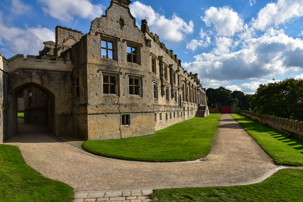Outside ruins of Bolsover Castle in England, Derbyshire, was built in the early 17th century