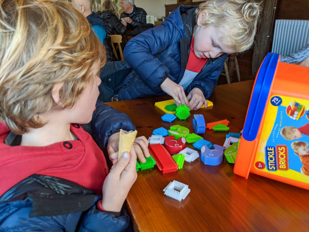 stickle bricks to play with in the tea room of Blaze Farm