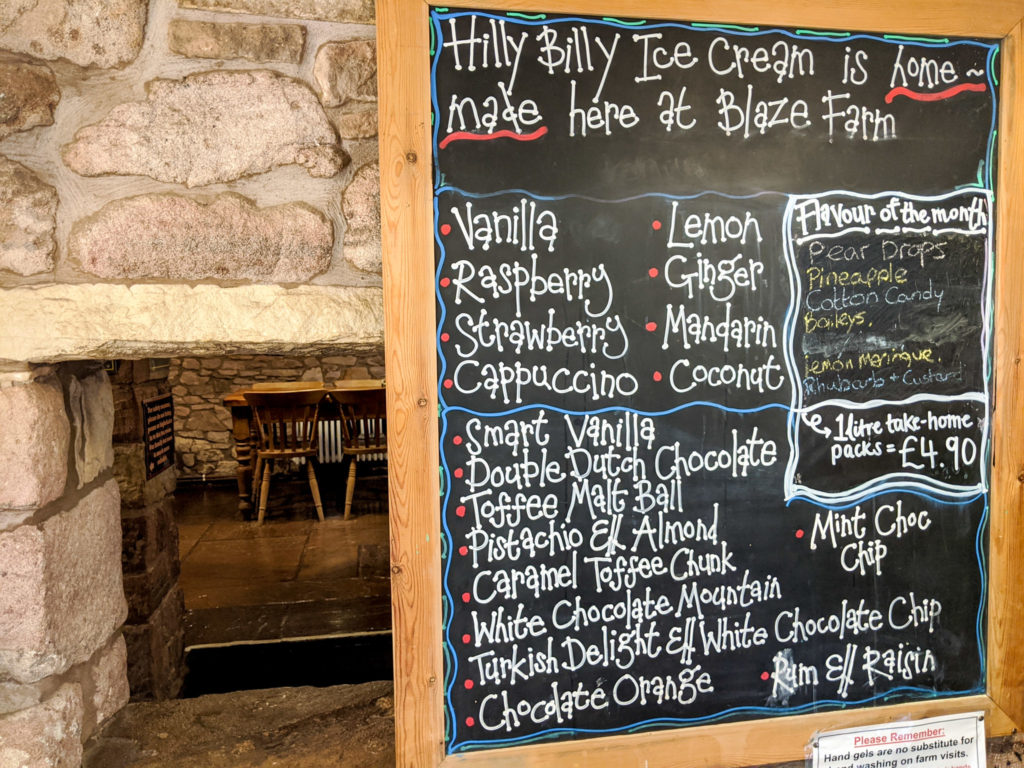 ice cream menu at Blaze farm