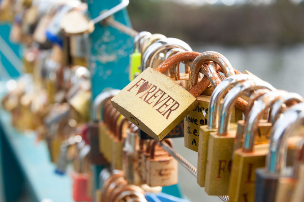 Lovelocks on Bakewell Bridge