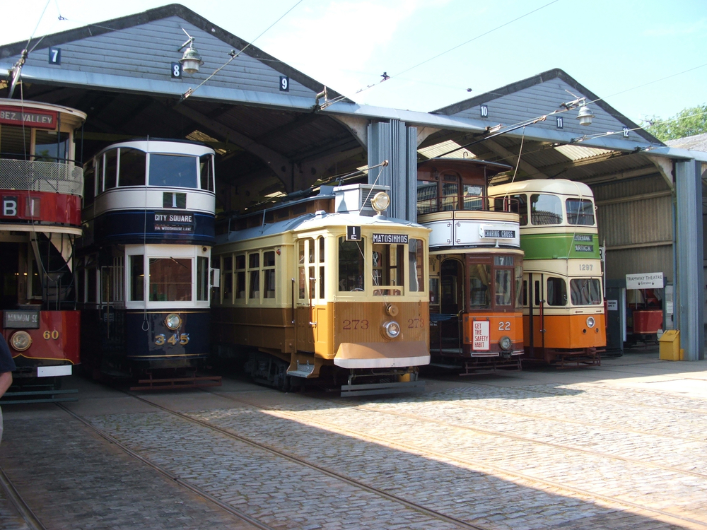 An old vintage tram at the National Tramway Museum at Crich