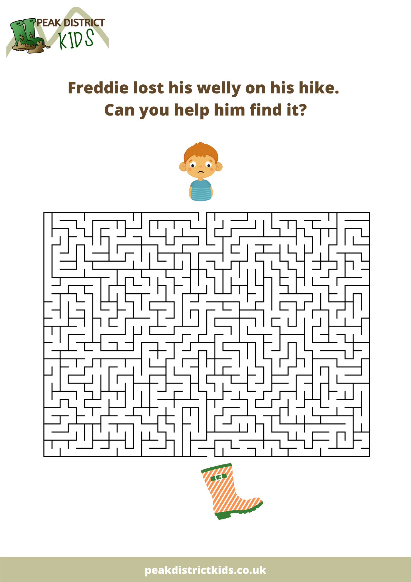 Help Freddie find his welly in the maze